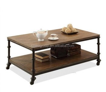 Iron Wheels Wood Coffee Table Bf10 M705 Steel With Product On Alibaba