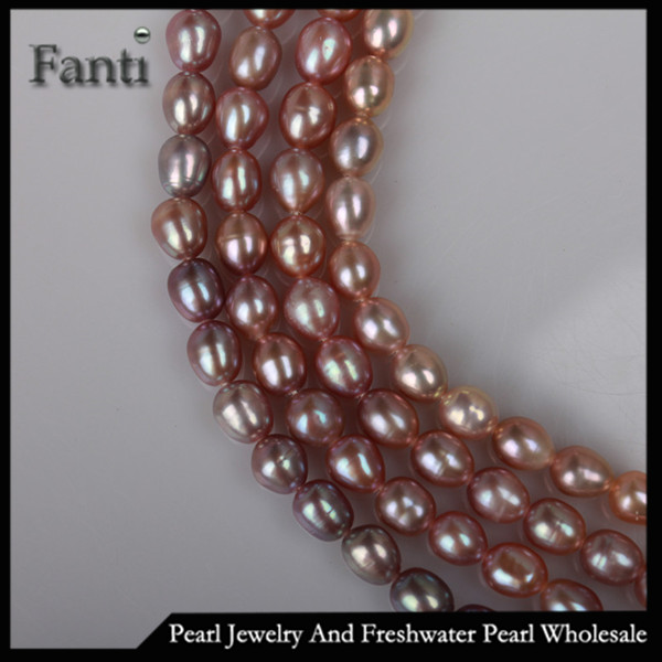 Pearl beaded strand 7-8mm AAA rice river pearl strand