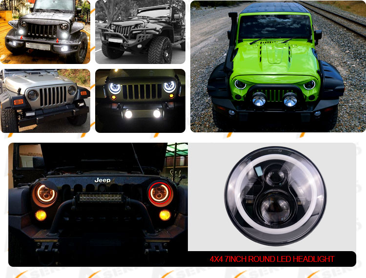 45w Black bezel headlight with halo for Jeep JK 6 pcs Leds High beam 7inch driving round lighting 12v 24v