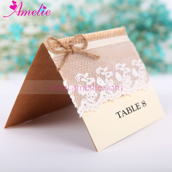 Retro Guest Name Table Place Cards With Lace Hemp Rope Rustic Number Wedding Burlap Numbers Card Holder
