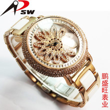 Turntable diamond big dial lady watch ceramic mix steel band watches
