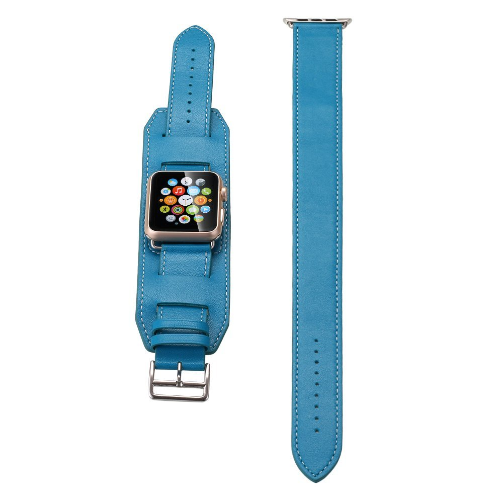 Apple Watch Band, Pandawell™ Three Styles [Single tour] [Cuff] [Double Tour] Combo Set, Genuine Leather strap Bracelet Replacement Wrist Band With Adapter Clasp for 42mm Apple Watch -Blue