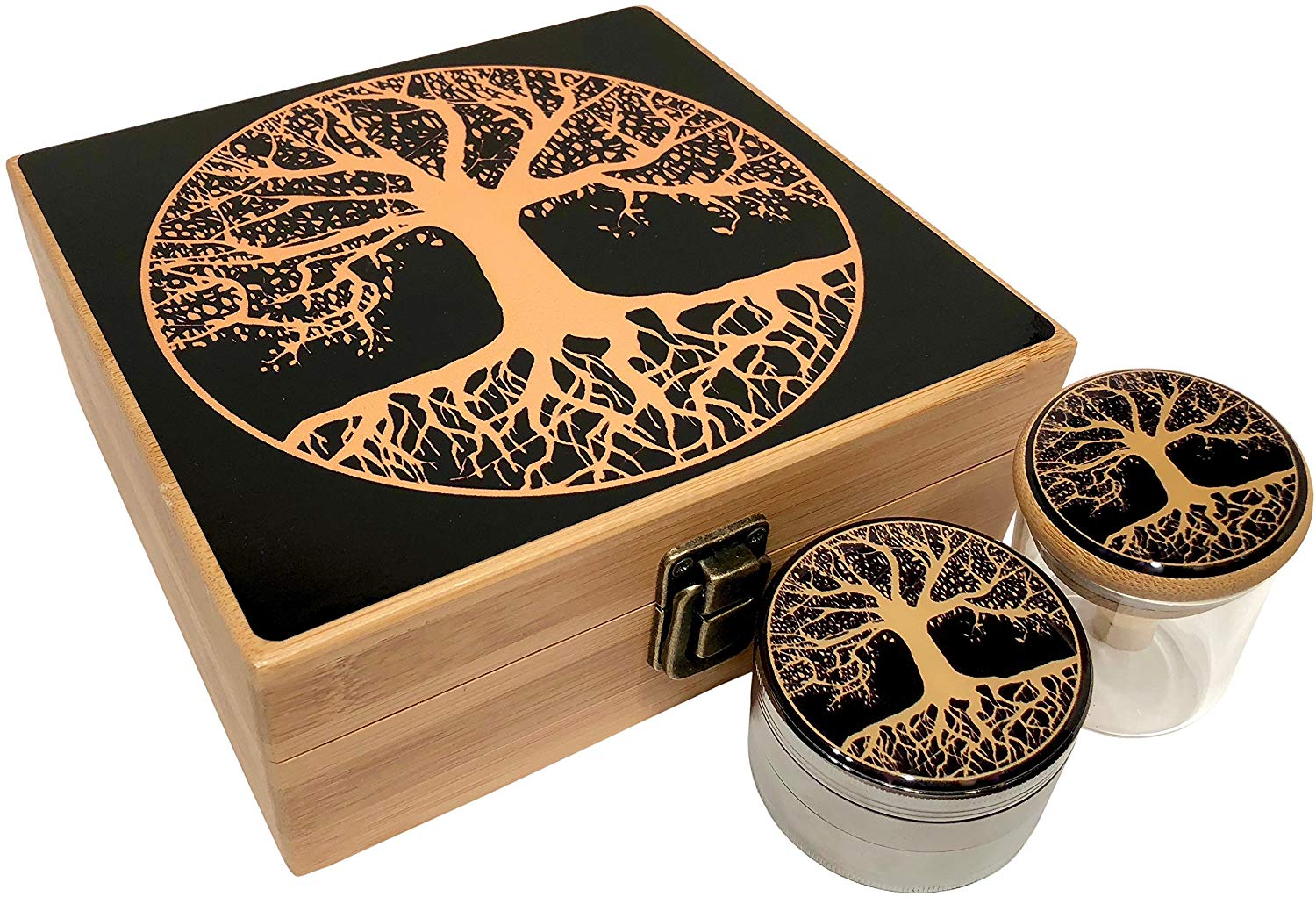 Tree of Life Stash Box Combo - Large 4 Part Herb Grinder with pollen catcher and Stash Jar and Rolling Tray - Wood Stash Boxes (Tree Of Life)