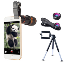 APEXEL 5 in 1 Telefoon Accessoires Mobiele Camera Lens Kit 12x Universele Mobiele Zoom Lens Telescoop Phone Camera Lens <span class=keywords><strong>statief</strong></span>