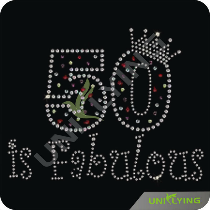 Fifty is fabulous letter motif rhinestud transfer