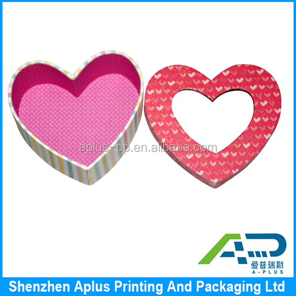 Red heart shape valentine paper gift box choolate packaging , unique paper choolate box