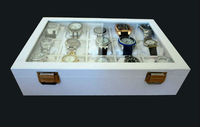 15 slt White Wood and Leather Watch Box