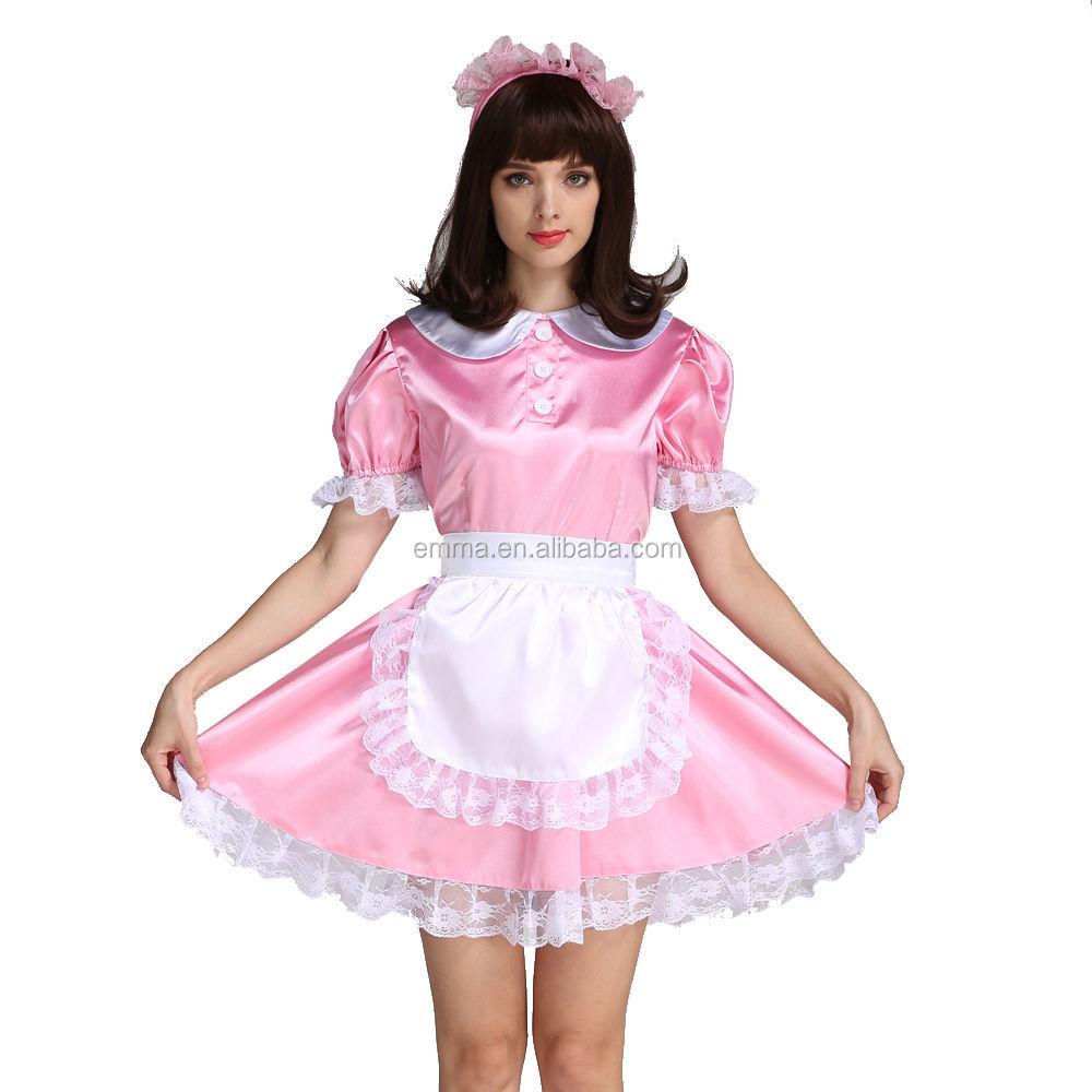 sissy girl maid satin locking pink french maid dress costume