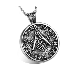 Custom Design Antique Color 316 Stainless Steel Band of Brother Men's Masonic Collar Jewelry Pendants Necklaces