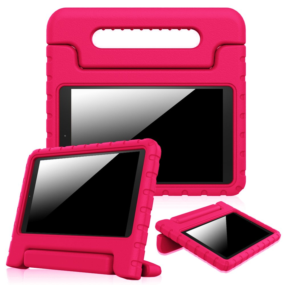 "Fintie Shock Proof Case for Fire HD 10 - Kiddie Series Light Weight Shock Proof Convertible Handle Stand Cover Kids Friendly for Amazon Fire HD 10 Tablet (10.1"" HD Display 5th Gen 2015), Magenta"