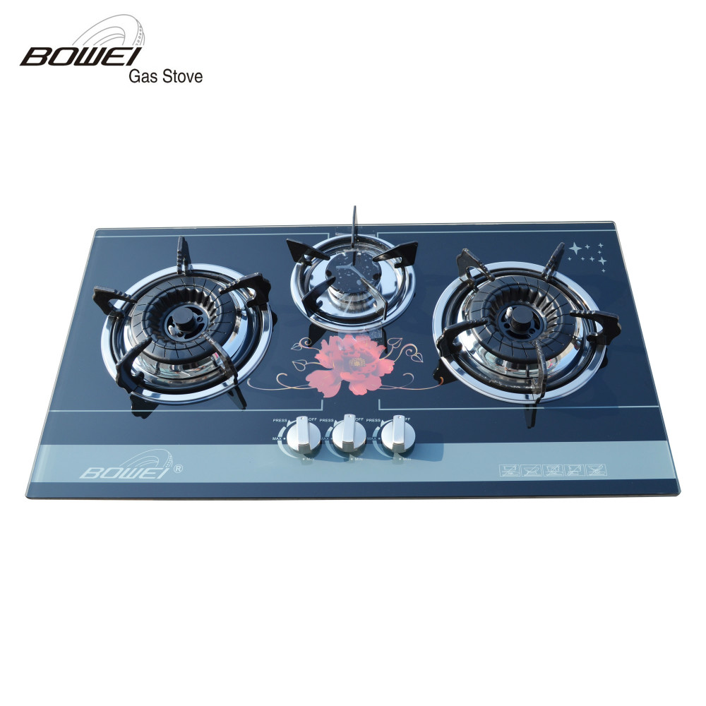 Top Selling Home Appliances Glass Built-in 3 Burner Gas stove