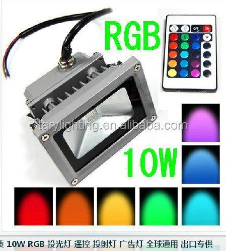 factory wholesale high brightness IP65 10w RGB led flood light with remote control
