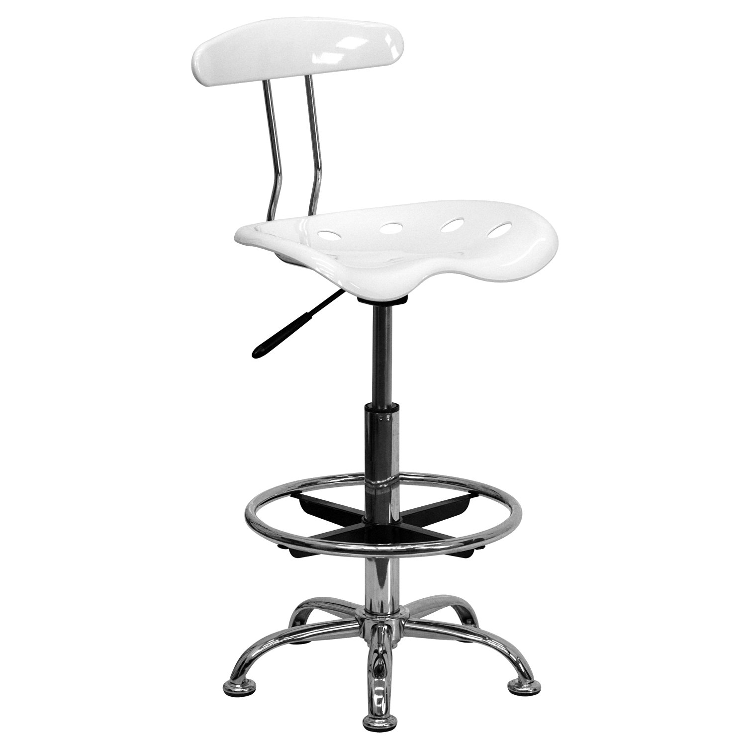 Thornton's Office Supply Vibrant White and Chrome Drafting Stool with Tractor Seat
