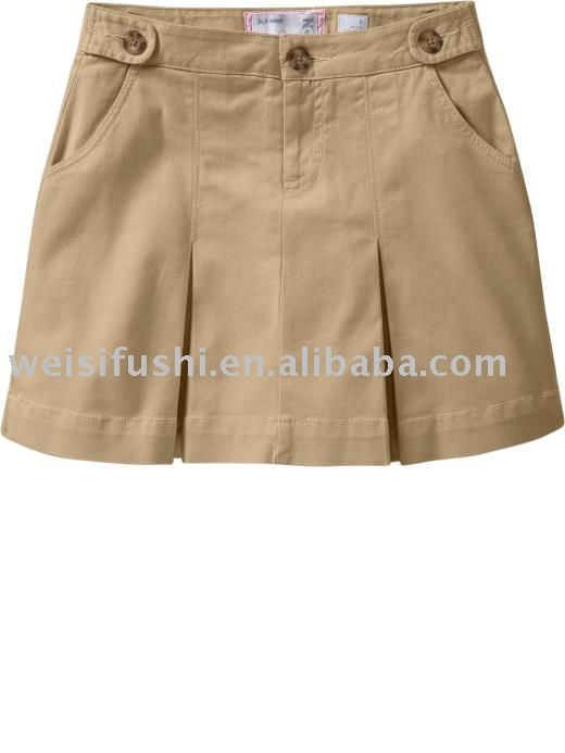Girls Twill Uniform Cotton Skorts