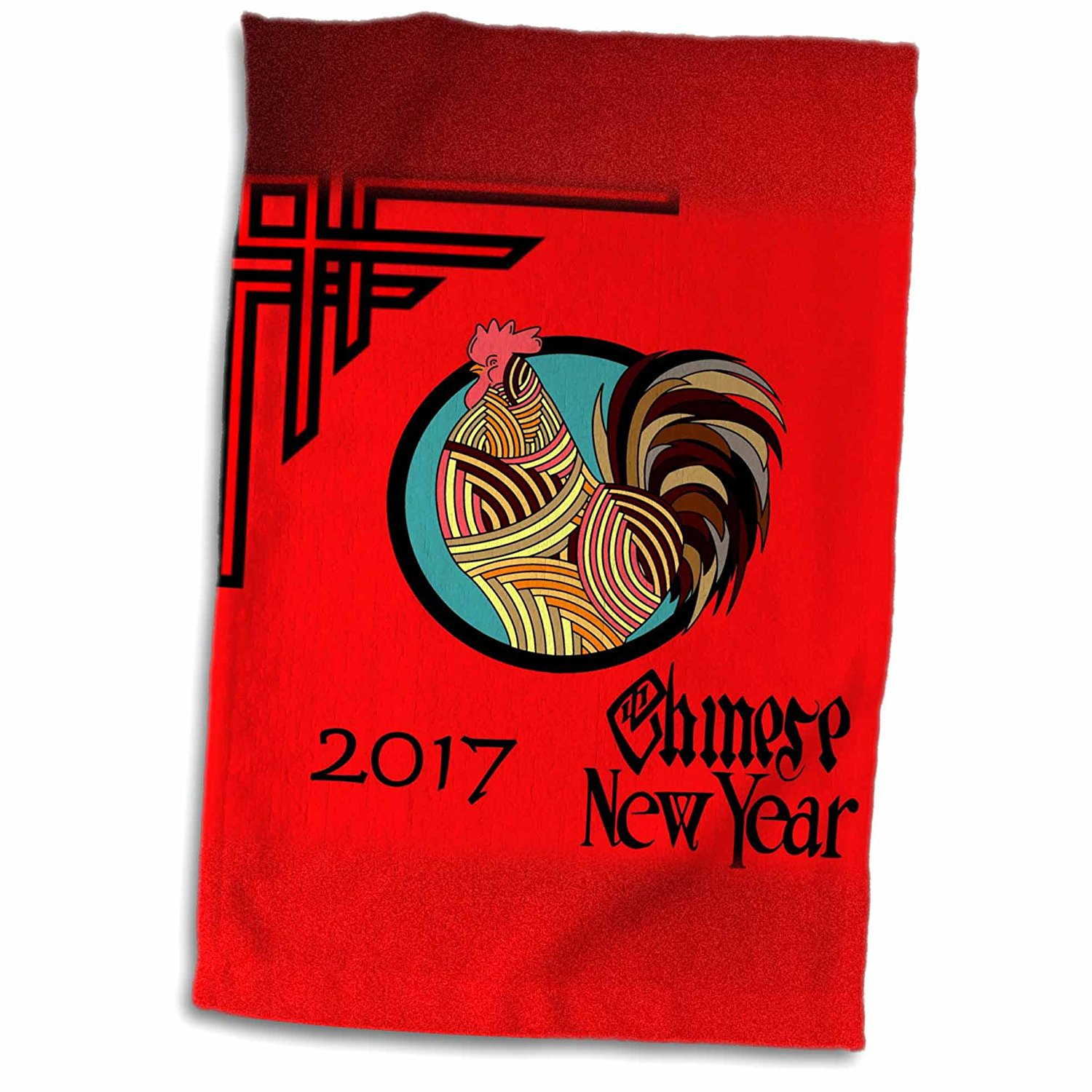 3dRose Florene Chinese New Year Designs - Image of 2017 Chinese New Year - Black and Red With Rooster and Scroll - 12x18 Towel (twl_252060_1)