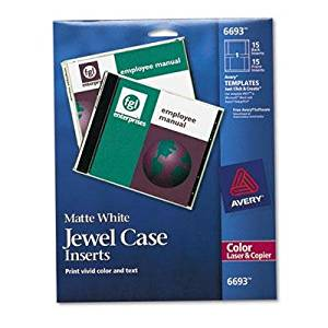 "Avery - 2 Pack - Laser Cd/Dvd Jewel Case Inserts Matte White 15/Pack ""Product Category: Labels Indexes & Stamps/Labels & Stickers"""