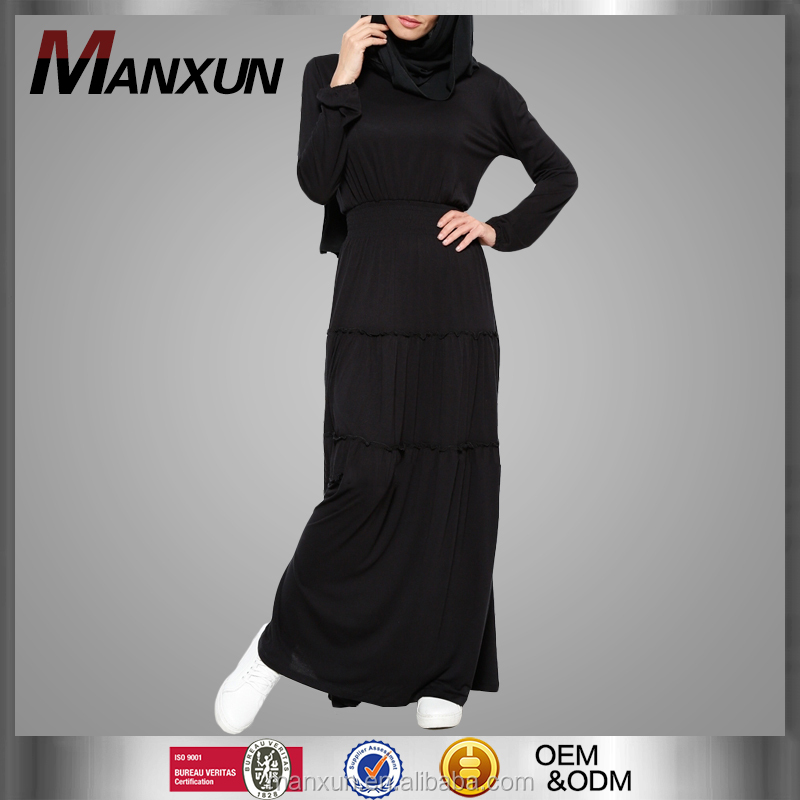 b307ba289 إمرأة أسود طويل الأكمام ماكسي فستان ضيق الخصر دبي العباءة العباءة مسلم