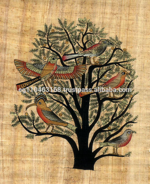 Original Hand Painted Papyrus -Tree of Life Egyptian pharaoh