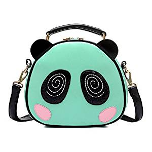 Messenger Bag - SODIAL(R)Print bag Crossbody Bag Circle Bags Leather Women with Fur Ball Of Women Messenger Bag Panda green