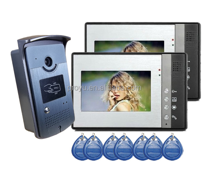 "4 Wires 7""inch Video Door Phone Intercom System With 2 monitor PY-802MEID12"