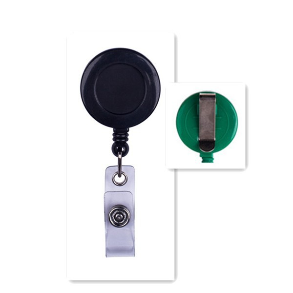 Solid Color Round Badge Reel w/ Belt Clip & Clear Vinyl Strap