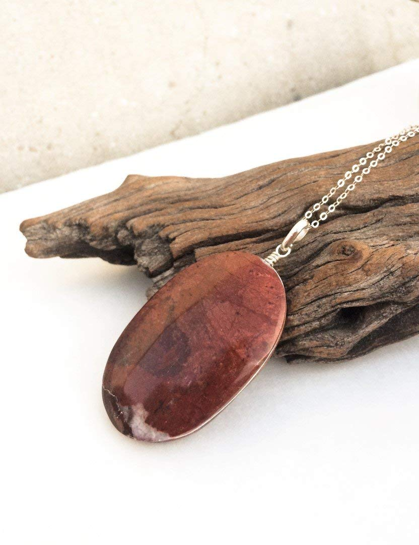 Large red Jasper pendant, Oval red pendant, Big red Jasper stone, Stone silver pendant, Burgundy shade, Earth colors, Jewelry from Israel