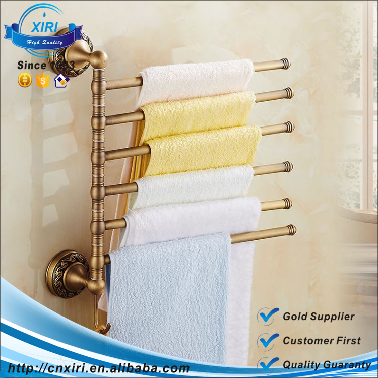 (TR66) Antique Brass 5 Bars Towel Bar With Hooks Swivel Towel Rack Multi-fuction Towel Bar