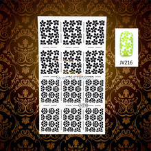 1PC White Hollow Christmas Nail Art Sticker Stencils HWJ216 Frozen Snowflake Pattern Nail Manicure Tips Stamping