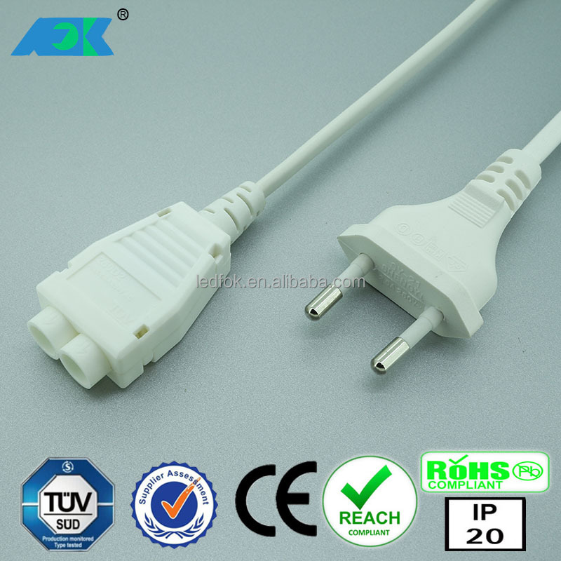 European design OD7.6mm high voltage connector 230V 2.5A TUV connecting system female connector plug angled 2.1 x 5.5 mm dc plug