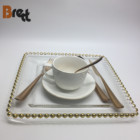 Wedding gold rim ceramic dinner plates charger plates beaded champagne wine glass cup