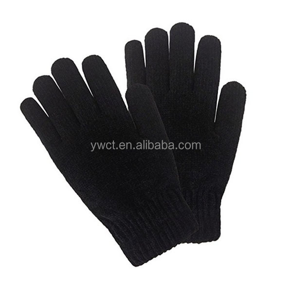 Cheap Mens Winter Soft Black Mitten Thick Stretch Knit Magic Gloves