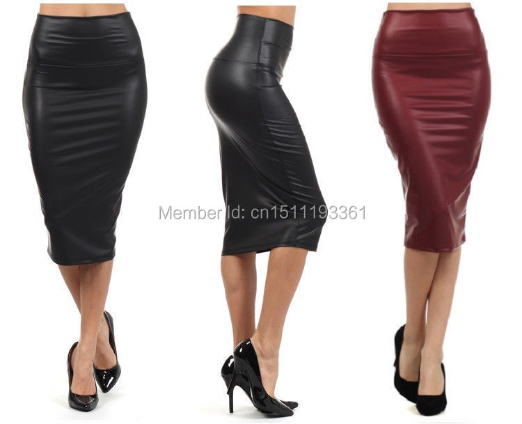 free shipping plus size high waist faux leather pencil skirt black leather skirt S M L