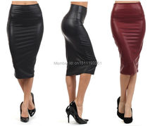 free shipping plus size high-waist faux leather pencil skirt black leather skirt S/M/L/XL