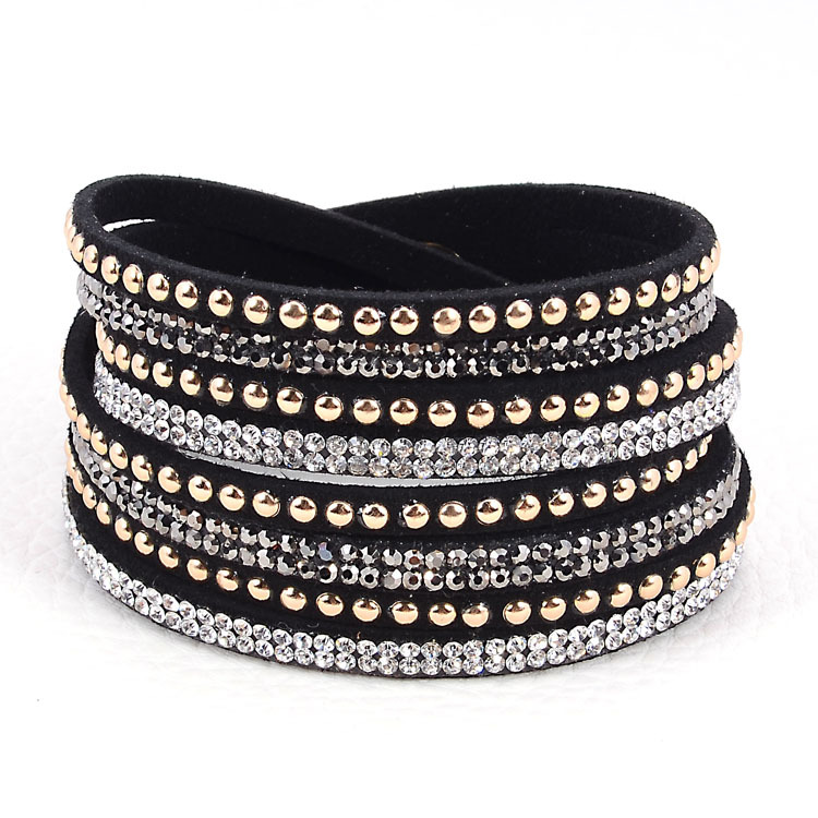 Double Wrap Leather Multi Layer Crystal Bracelet Crytal Bracelets Wred With Bilingbling Full