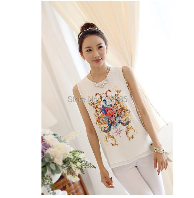 2014 summer blouse women shirt New Fashion Korean Style Floral Print Sleeveless Vest Chiffon Shirts Plus Size