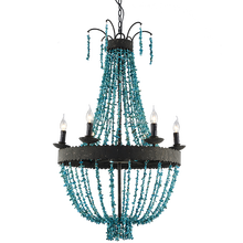 2017 hot sale handmade blue stone beaded larger chandelier for living room or hotel