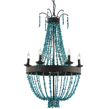 2017 hot sale handmade blue stone new design large rustic beaded classic candle chandelier for dining room or hotel