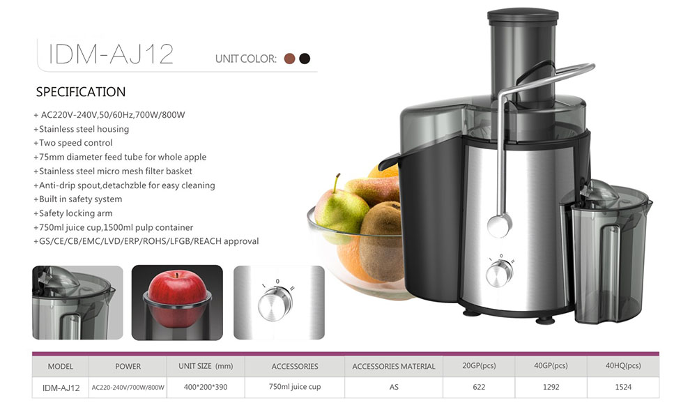 Ideamay 75mm big mouth 700w Single Cup Garlic Tomato Radish Carrot Juicer Juice Extractor Machine