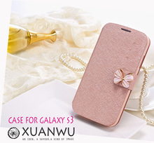 2015 new cell bowknot Decoration mobile phone bag to Case For samsung galaxy s3 i9300 Cover by Phone Leathe filp fundas covers