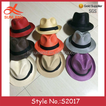 S2017 low profit promotional straw panama hats cheap trilbys fedora hats  men with black band wholesale b407d84ac1e