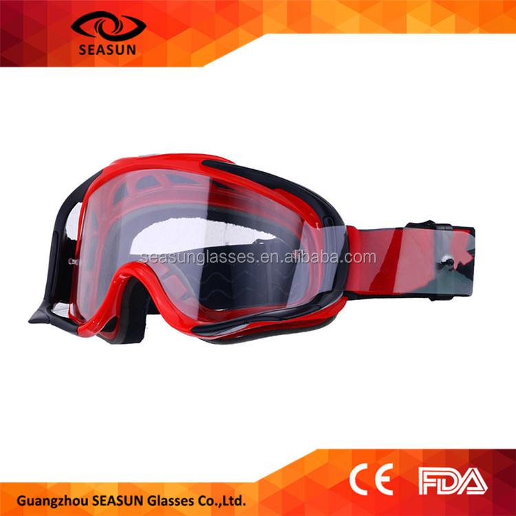 custom adjustable strap mx goggles with clear lens