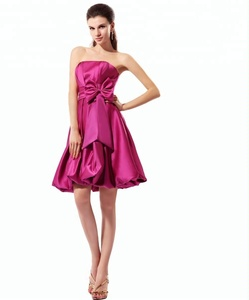 1ae1deb32fd Real photo plum ruffle ribbon lady A-line cocktail dress