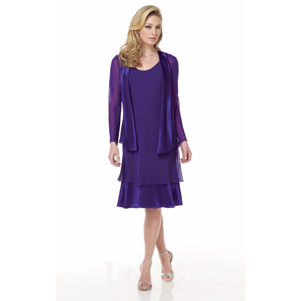 Purple 2016 Chiffon Cheap Knee Length Mother Of The Bride