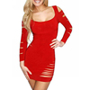 Women Elegant Sexy Red Cut Out Long Sleeve Party Bodycon Mini Dress