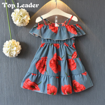 11ae8441271f9 Top Leader Baby Girls Dress 2018 New Summer Dress Korean Fashion Floral One  Shoulder Dress Children