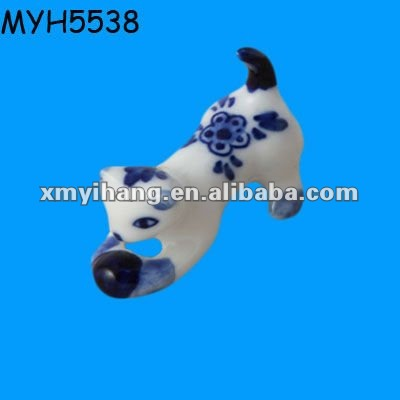 Blue and white cute cat figurine