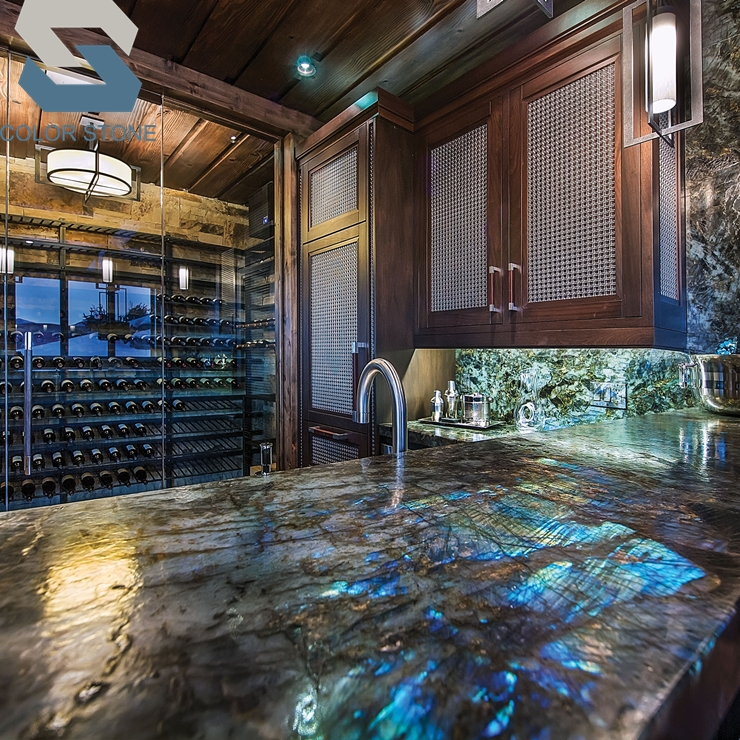Custom pre cut lemurian labradorite blue granite kitchen countertops