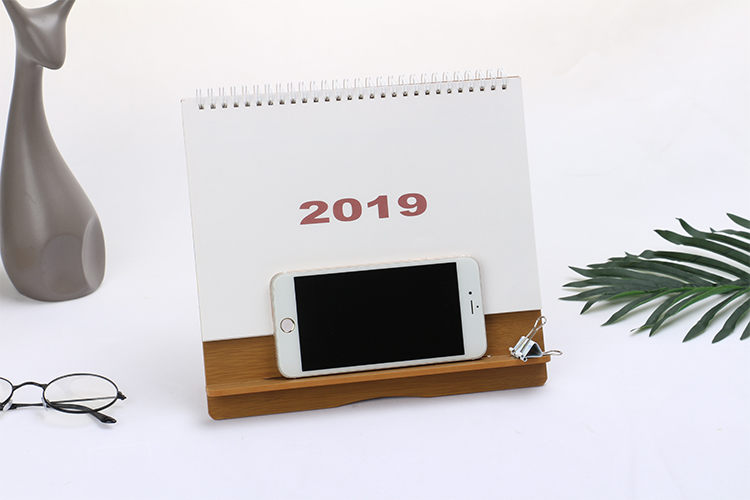 High quality custom printing full color 2019 spiral chinese monthly desk table calendar planner