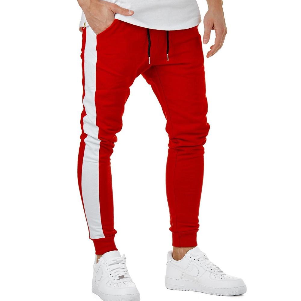 Joggers sports pants contrast side stripe long drawstring custom mens track pants фото