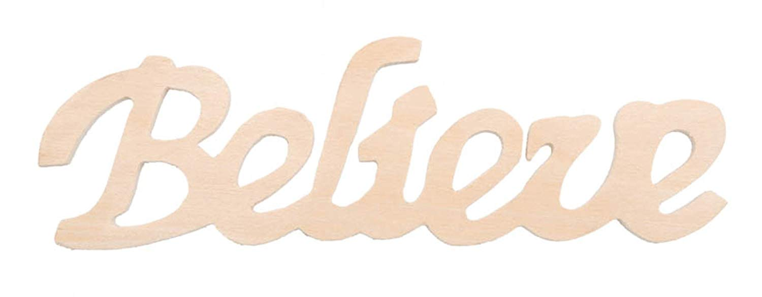 Darice 9110-80 Wood Script Word, Believe